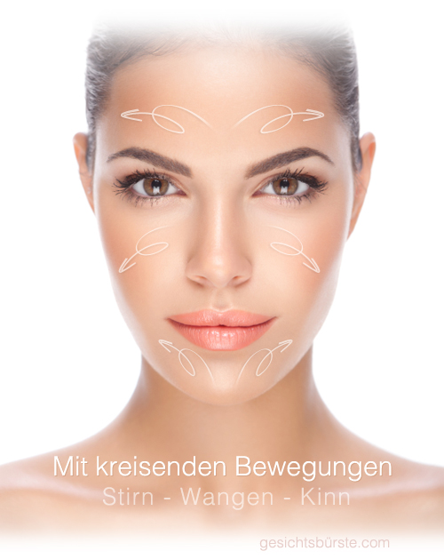 Stirn, Wangen und Kinn. Reinige diese drei Zonen mit kreisenden Bewegungen.